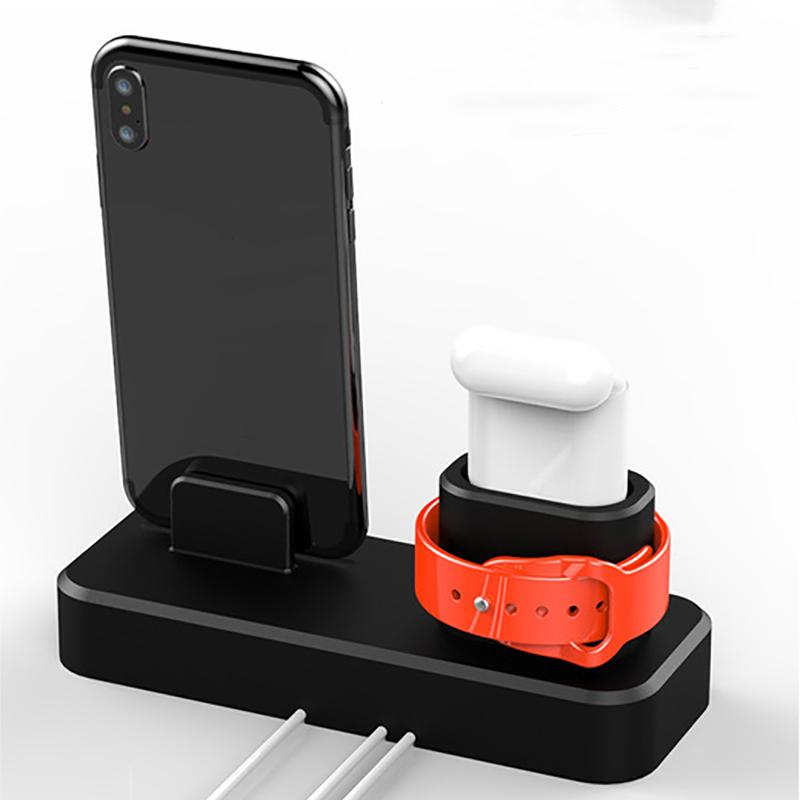 3 in1 Зарядка для док-станции Подставка для телефона Подставка для iPhone XS Макс XS XR Apple AirPods серии Apple Watch - фото 3