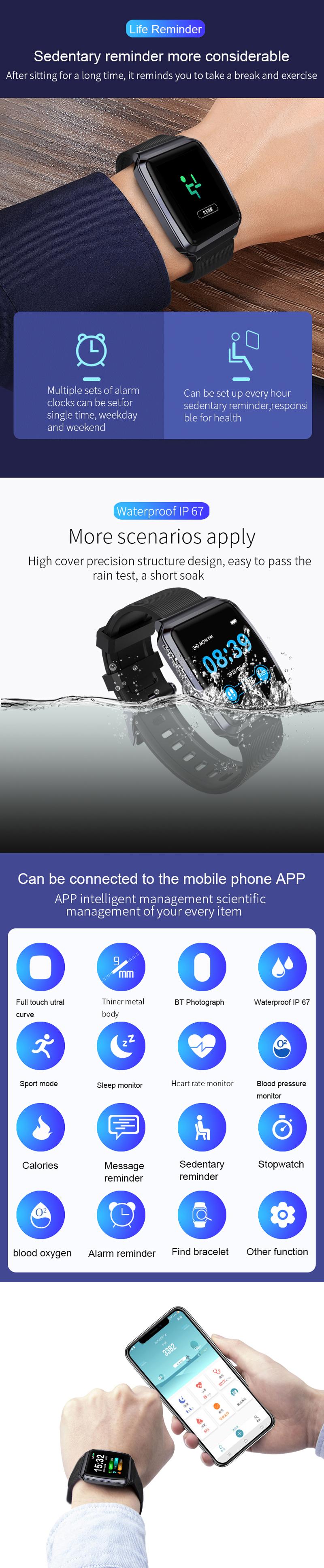 XANES®KY1161,3-дюймовыйсенсорныйэкранIPS Водонепроницаемы Смарт-часы Анти-потерянный Фитнес Спортивный браслет - фото 4