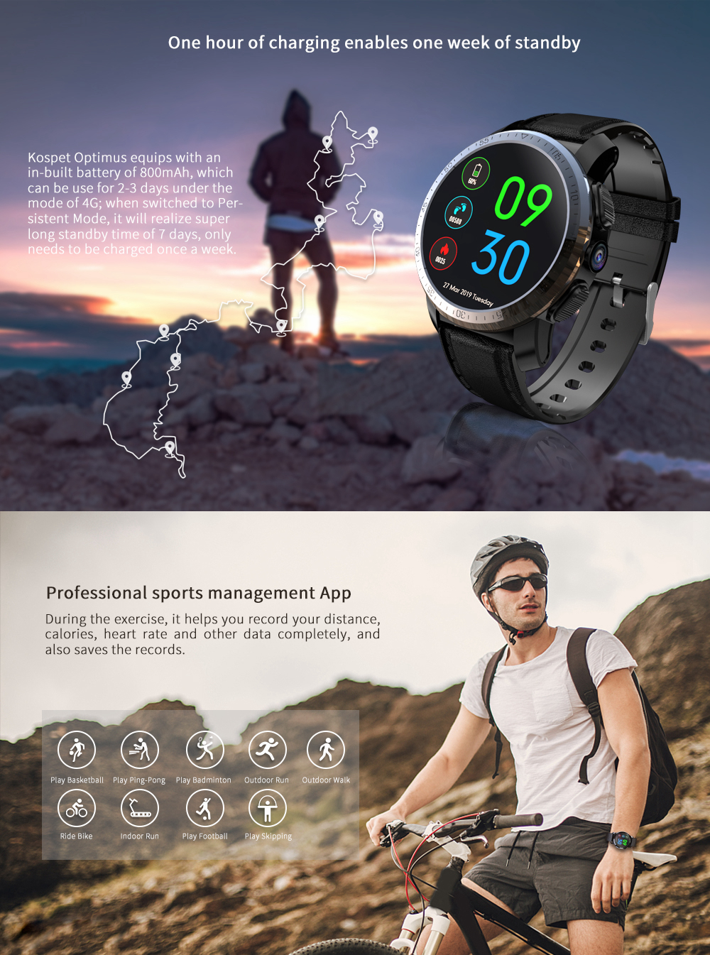 Kospet Optimus Pro Двухчиповая система 3G + 32G 4G-LTE Watch Phone AMOLED 8.0MP 800 мАч GPS Google Play Смарт-часы - фото 9