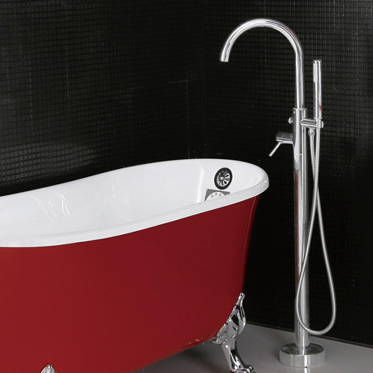 Хромированный круглый круглый отдельно стоящий кран Ванная комната Смеситель для ванны с душем - фото 1