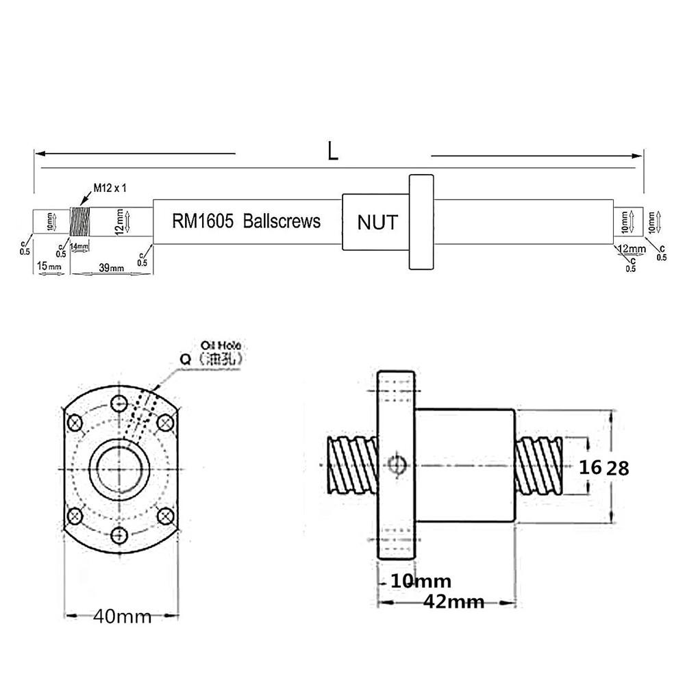 600 мм SFU1605 Бал Болт с шариковой гайкой для ЧПУ - фото 600mm SFU1605 Ball Screw with Ballnut for CNC