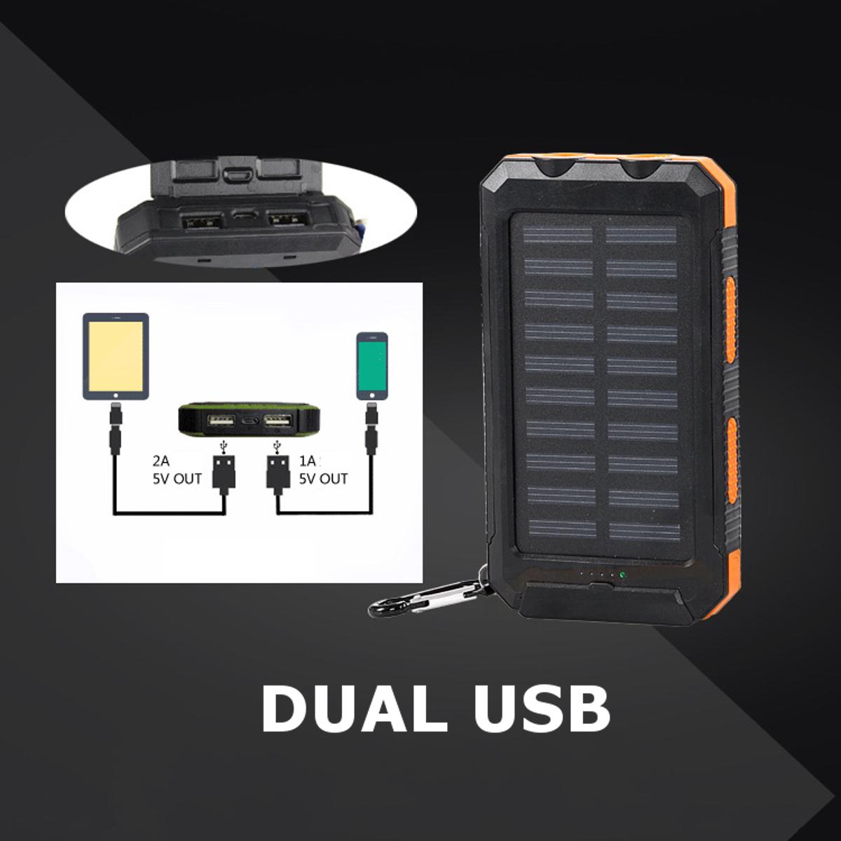 Bakeey LED Flashight 10000mAh Dual USB Солнечная Energy DIY Банк питания Батарея Чехол Для планшета мобильного телефона - фото 2