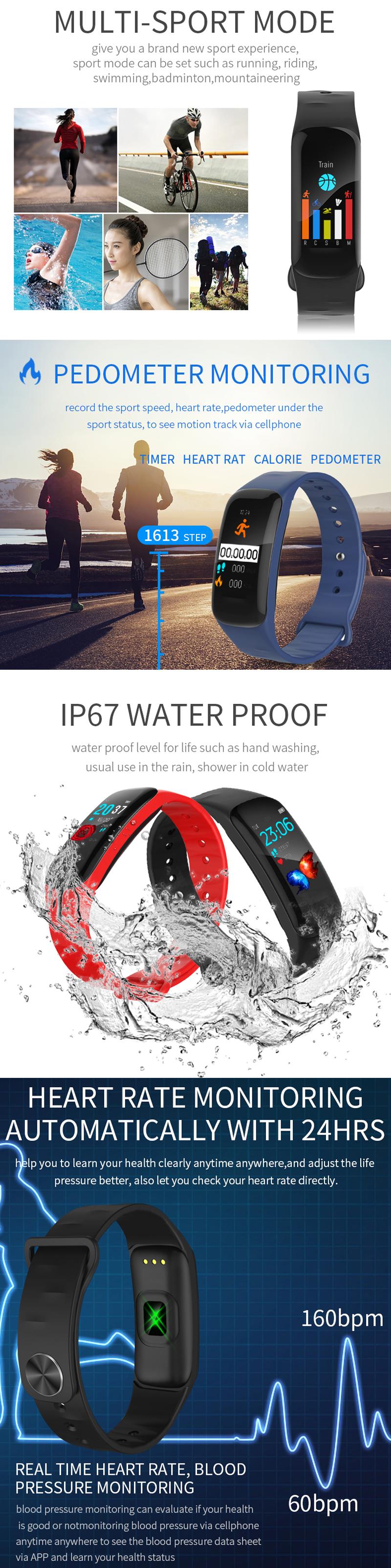 XANES®H021.14''Большойсенсорный экран Водонепроницаемы Smart Watch Спортивный пробег Анти-потерянный Фитнес - фото 2