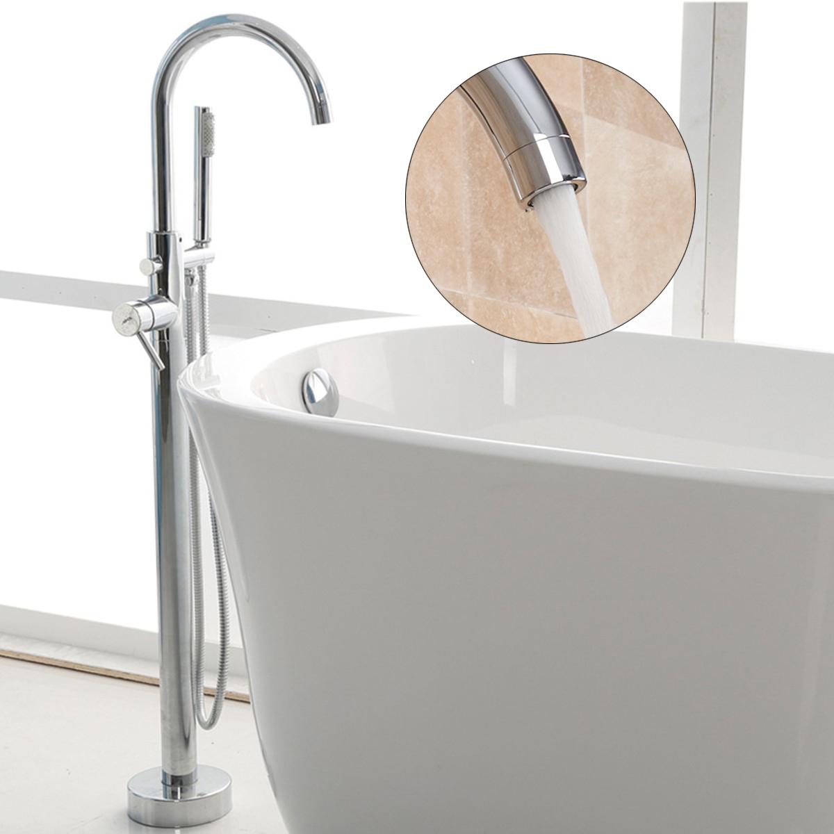 Хромированный круглый круглый отдельно стоящий кран Ванная комната Смеситель для ванны с душем - фото 2