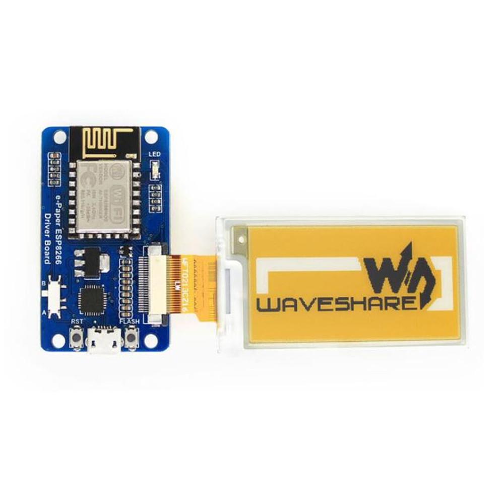 Waveshare 2.13 дюймов Экран Bare e-Paper + плата водителя на борту ESP8266 Модуль Беспроводной Wi-Fi Желтый Черный и Бел - фото 1
