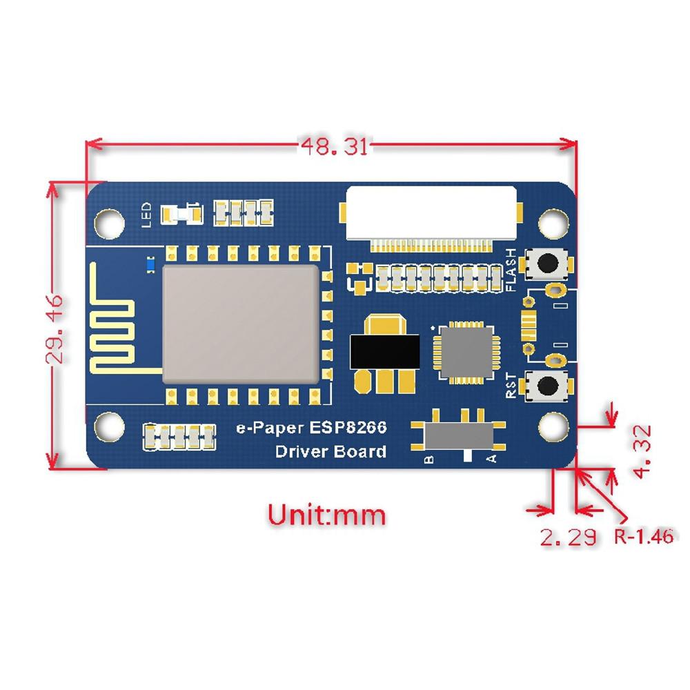 Waveshare 2.13 дюймов Экран Bare e-Paper + плата водителя на борту ESP8266 Модуль Беспроводной Wi-Fi Желтый Черный и Бел - фото 3