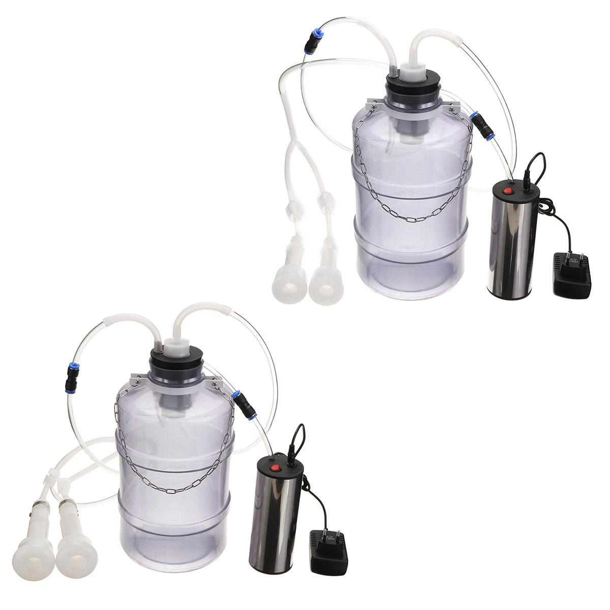 Электрический доильный аппарат 5L для коров / коз / овец электрический доильный утолщающий бак с двумя головками - фото 1