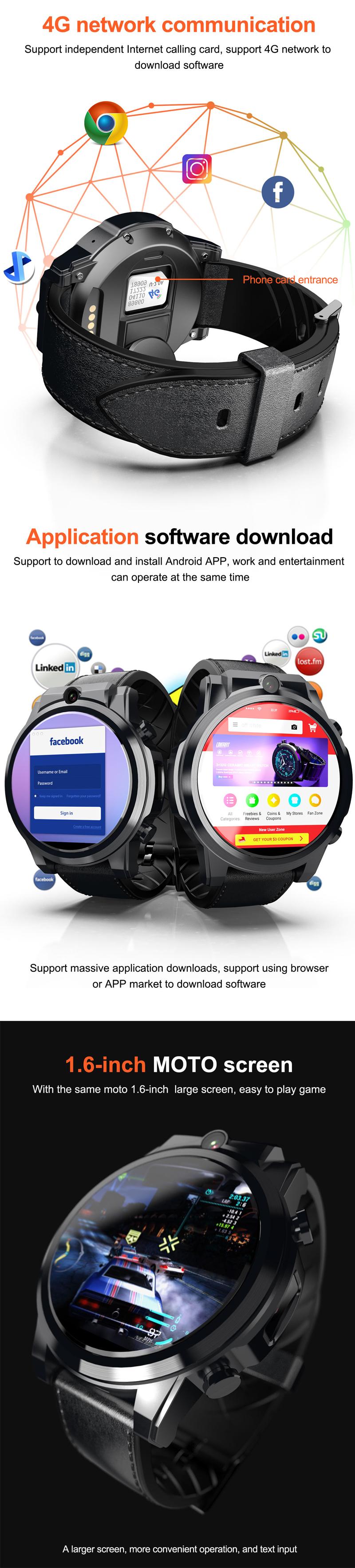 LOKMATX3604G3+32G HD камера Часы-телефон 1,6  сенсорный экран Спорт Фитнес Смарт-часы - фото 2