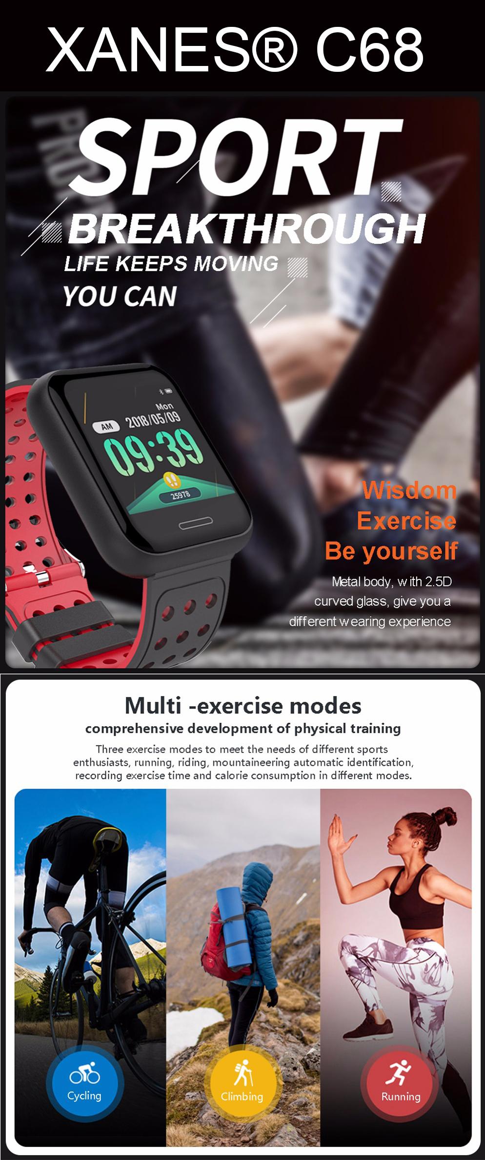 XANES®C681,3-дюймовыйцветнойсенсорныйэкран Водонепроницаемы Smart Watch, несколько спортивных режимов, браслет Фитн - фото 1