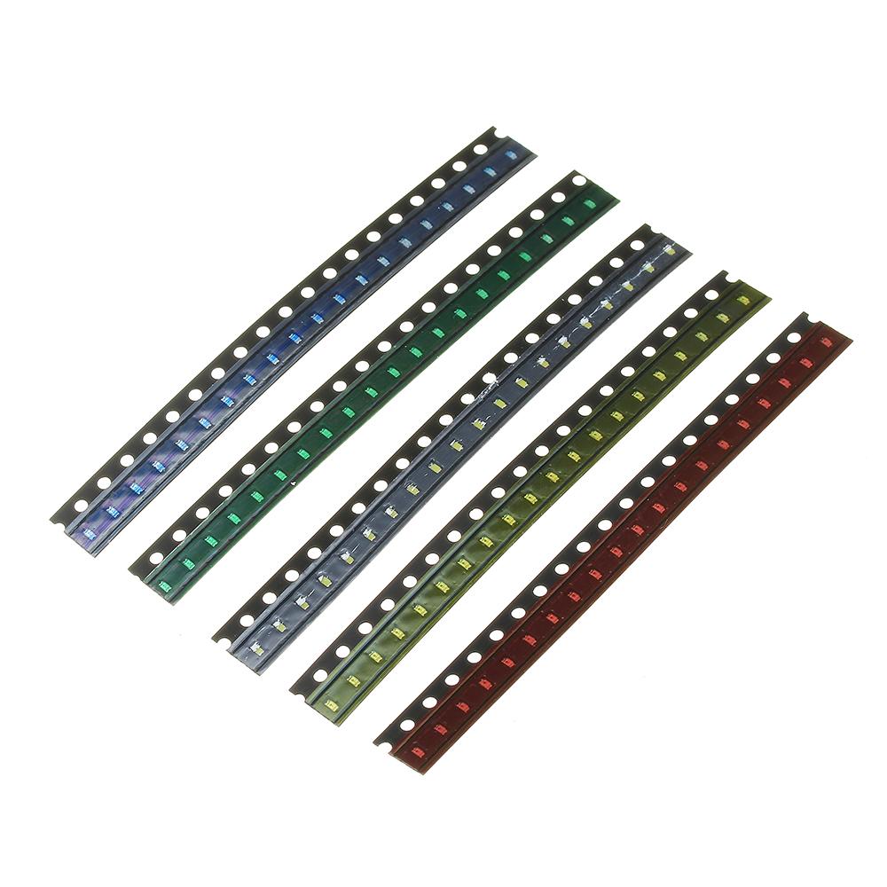 2000шт 5 цветов 400 каждый 0603 LED диодный ассортимент SMD LED диодный Набор зеленый / красный / белый / синий / желтый - фото 3