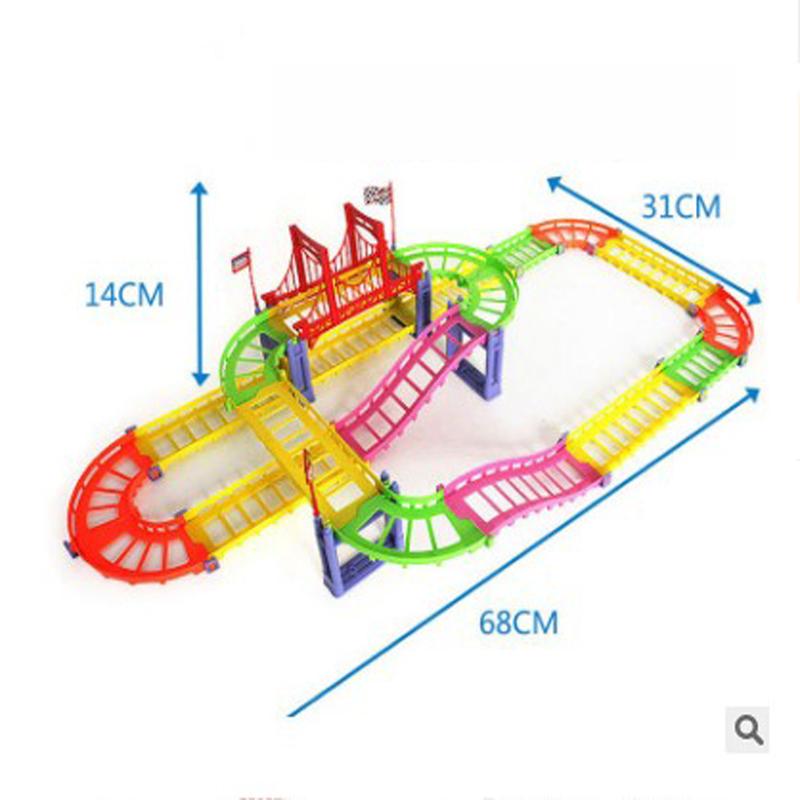 88шт / 90шт DIY трек гонки Авто детские игрушки Набор электрические Авто трек игрушки детские подарки 63,5 * 31,5 * 14,5 - фото 6