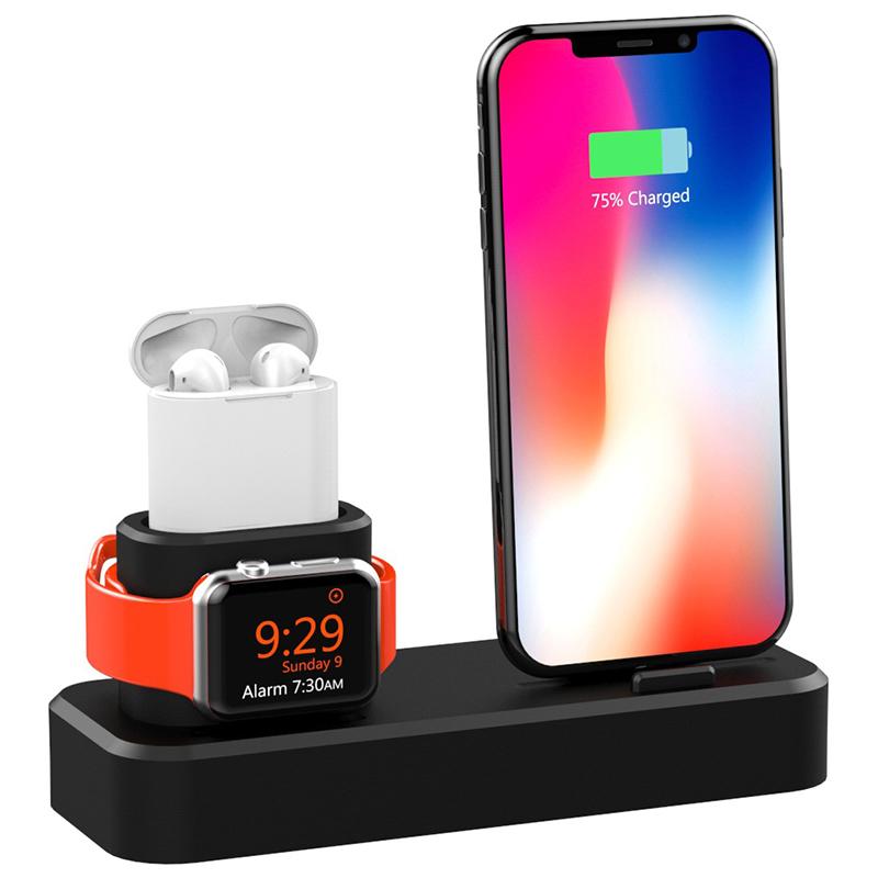3 in1 Зарядка для док-станции Подставка для телефона Подставка для iPhone XS Макс XS XR Apple AirPods серии Apple Watch - фото 1