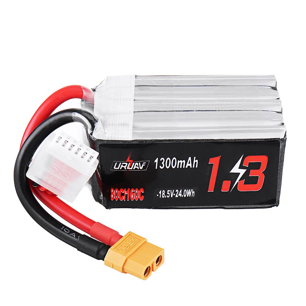 URUAV 18,5 В 1300 мАч 80C / 160C 5S XT60 Штекер Lipo Батарея для FPV RC Дрон - фото 1