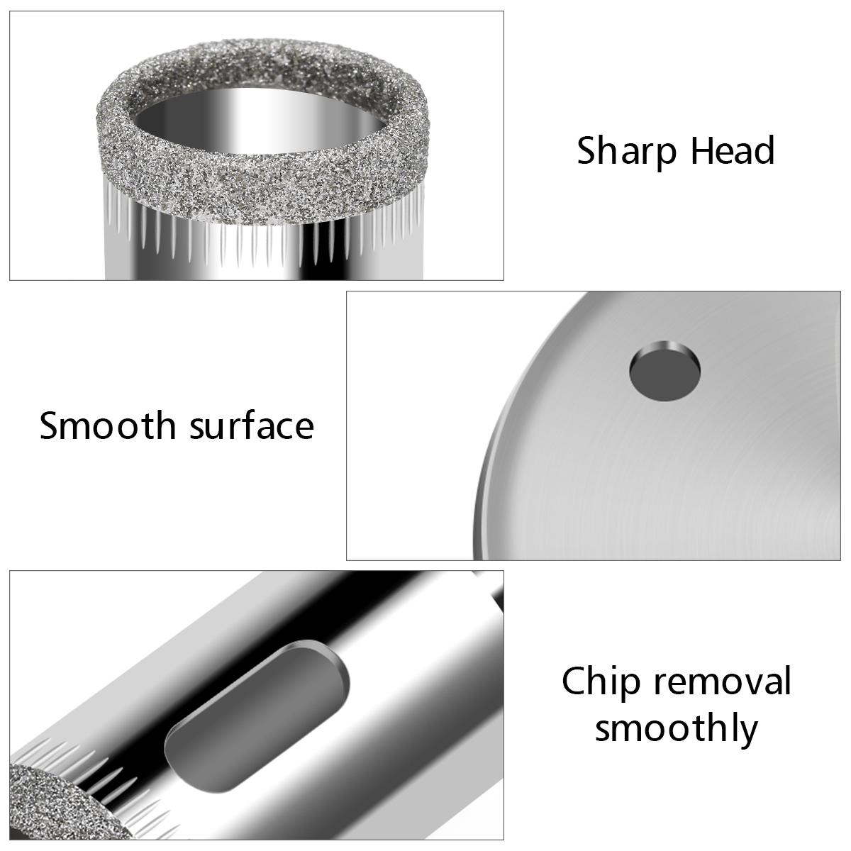 15 шт 6-50мм алмазные кольцевые сверла набор сверл для стеклокерамики фарфора мрамора - фото 18