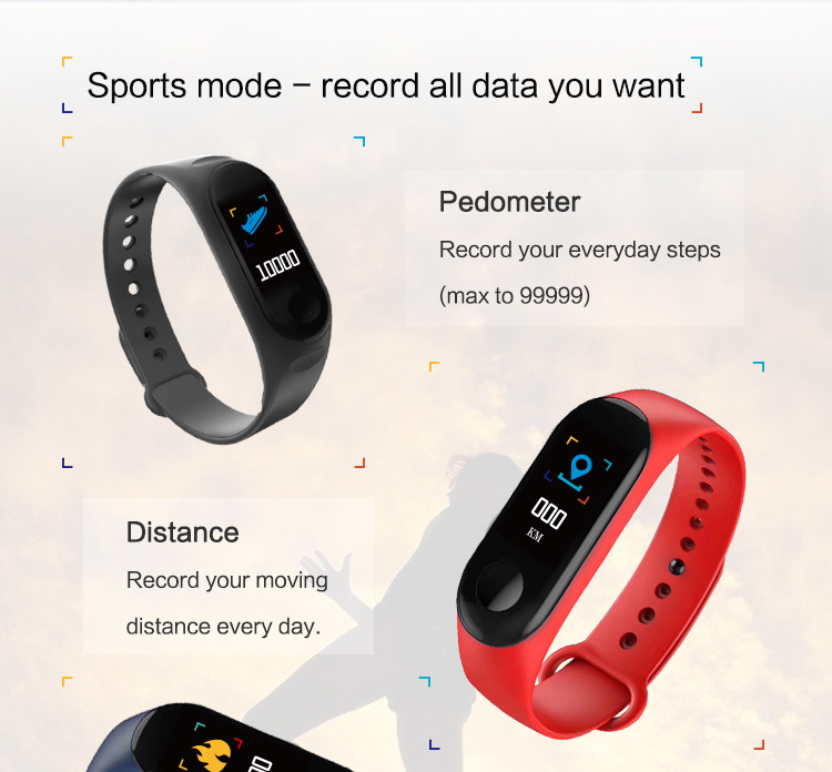 XANES MI3 0,96 '' TFT IP68 Водонепроницаемы Smart Bracelet Sleep Blood Oxygen Монитор Smart Watch mi band - фото 6