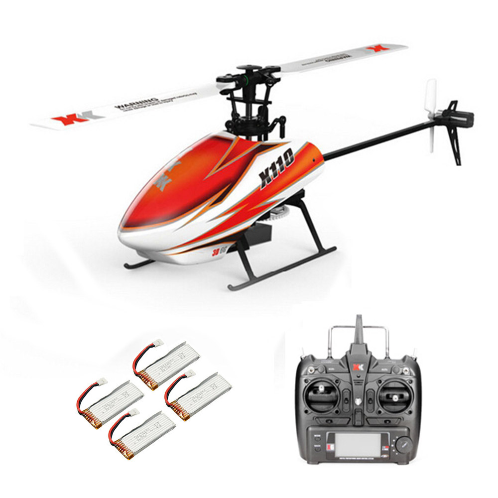 XK K110 2.4G 6CH 3D Flybarless RC Вертолет RTF Совместимо с FU-TABA S-FHSS С 4PCS 3.7V 450MAH Lipo Батарея - фото 1