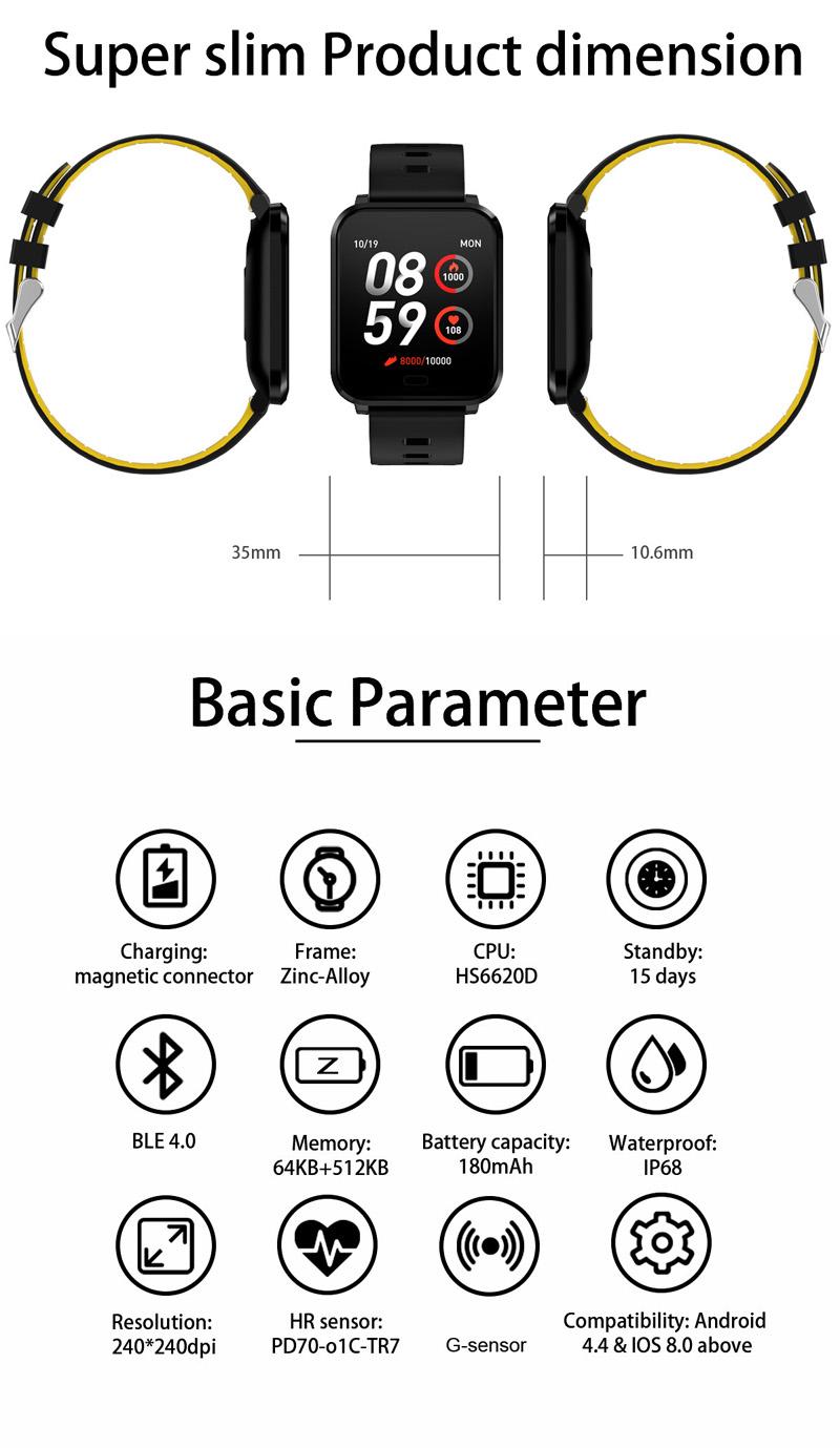 XANESK101,3-дюймовыйцветнойсенсорныйэкран Водонепроницаемы Smart Watch Несколько спортивных браслет Фитнес - фото 5