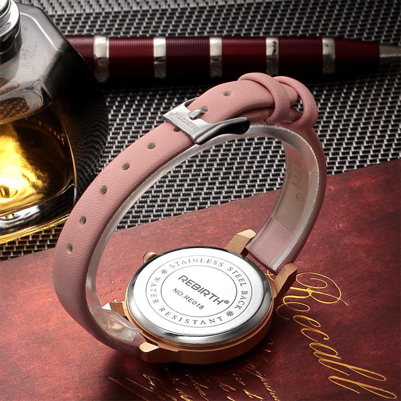 REBIRTH RE018 Rhinestone Elegant Дизайн Женское Наручные часы Розовое золото Чехол Кварцевые часы - фото 7
