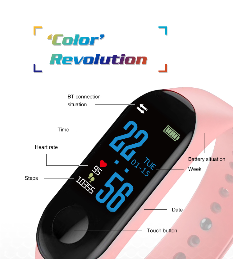 XANES MI3 0,96 '' TFT IP68 Водонепроницаемы Smart Bracelet Sleep Blood Oxygen Монитор Smart Watch mi band - фото 1