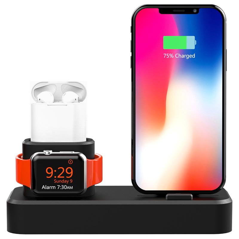 3 in1 Зарядка для док-станции Подставка для телефона Подставка для iPhone XS Макс XS XR Apple AirPods серии Apple Watch - фото 2