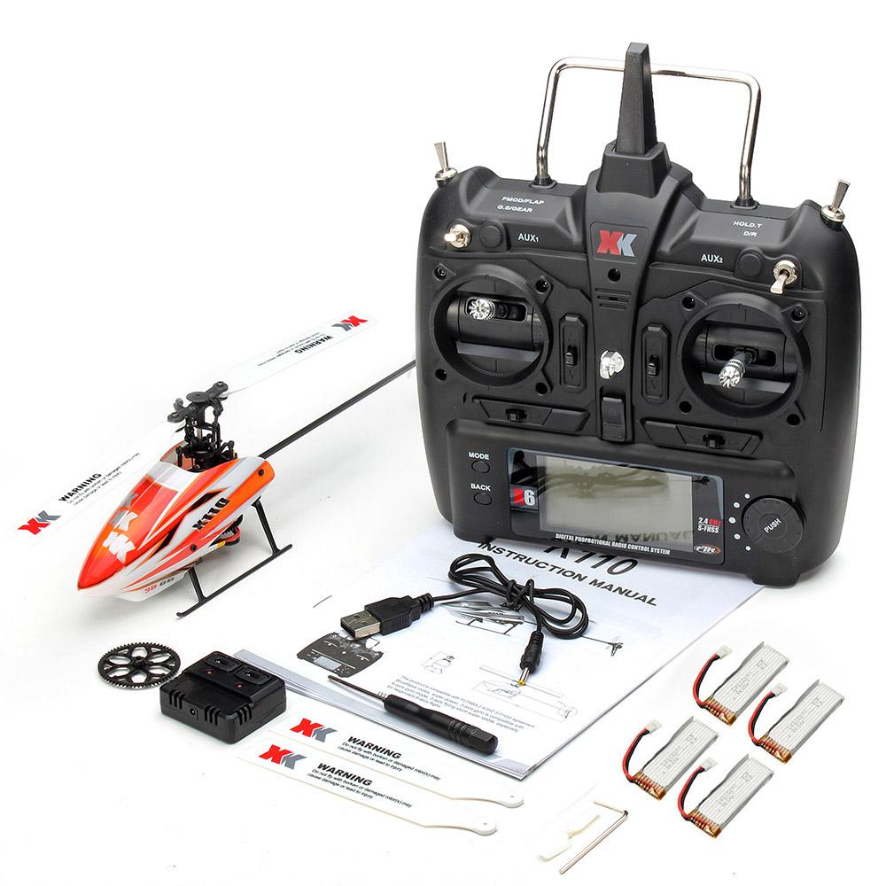 XK K110 2.4G 6CH 3D Flybarless RC Вертолет RTF Совместимо с FU-TABA S-FHSS С 4PCS 3.7V 450MAH Lipo Батарея - фото 11