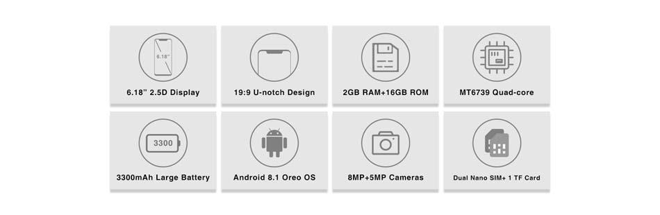 OUKITEL C12 Pro 6.18 Inch Android 8.1 3300mAh 2GB RAM 16GB ROM MT6739 1.3GHz Quad Core 4G Smartphone
