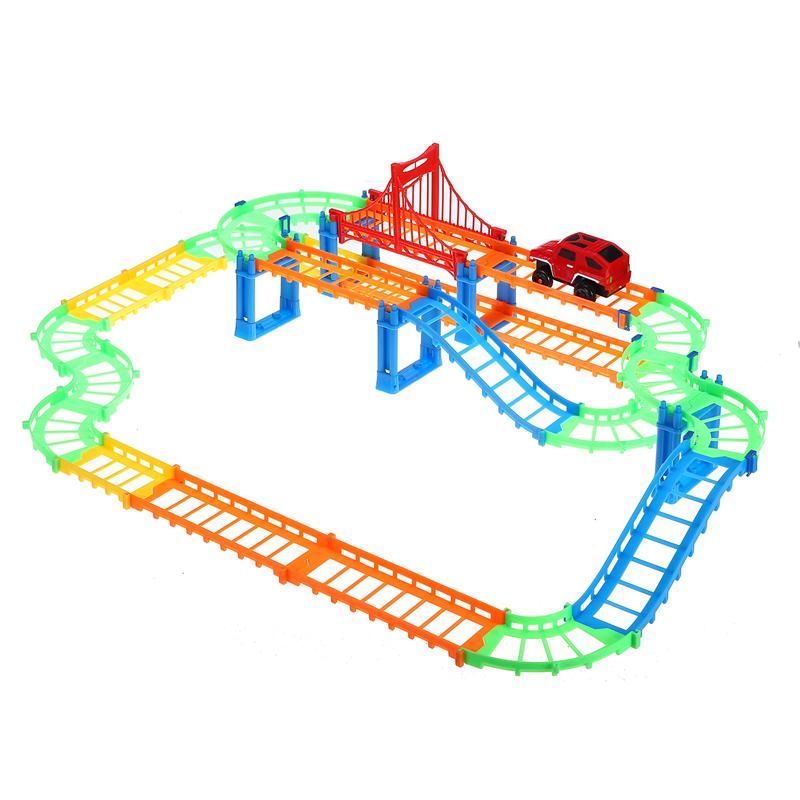88шт / 90шт DIY трек гонки Авто детские игрушки Набор электрические Авто трек игрушки детские подарки 63,5 * 31,5 * 14,5 - фото 4