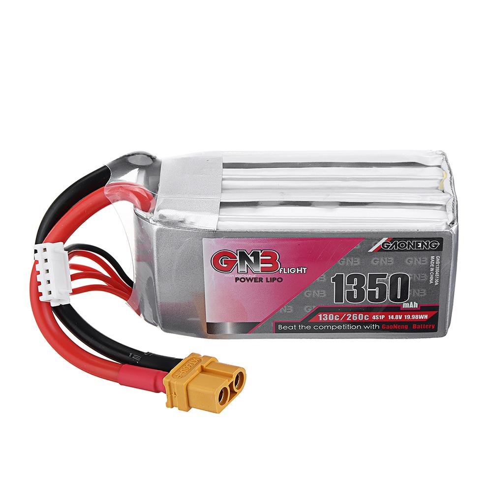Gaoneng 14,8 В 1350 мАч 130C / 260C 4S Lipo Батарея XT60 Разъем для FPV Racing Дрон - фото 1
