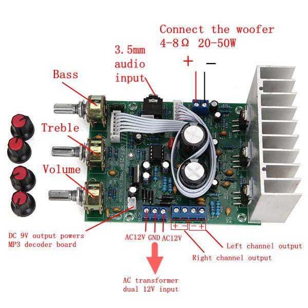 TDA2030A Сабвуфер Усилитель Плата 2.1 3-канальная Совместимость LM1875 - фото 1