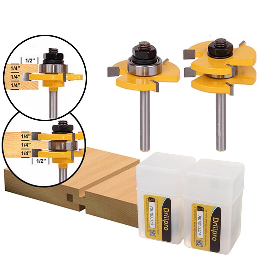 Drillpro RB22 2шт Набор битов маршрутизатора языка и канавок 1/4 дюймовый шейк хвостовика 3-зубчатый T-образный фрезерны - фото 9