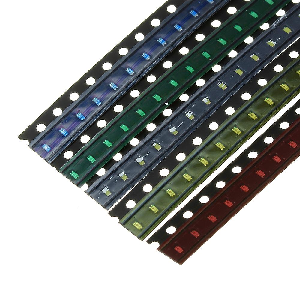 2000шт 5 цветов 400 каждый 0603 LED диодный ассортимент SMD LED диодный Набор зеленый / красный / белый / синий / желтый - фото 8