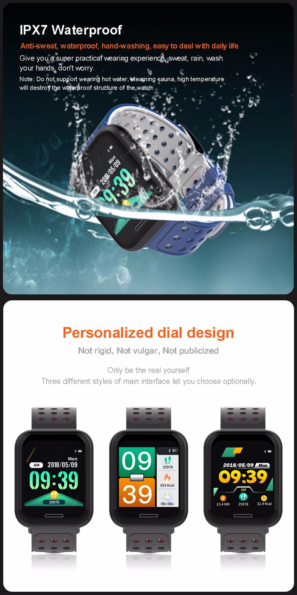 XANES®C681,3-дюймовыйцветнойсенсорныйэкран Водонепроницаемы Smart Watch, несколько спортивных режимов, браслет Фитн - фото 5