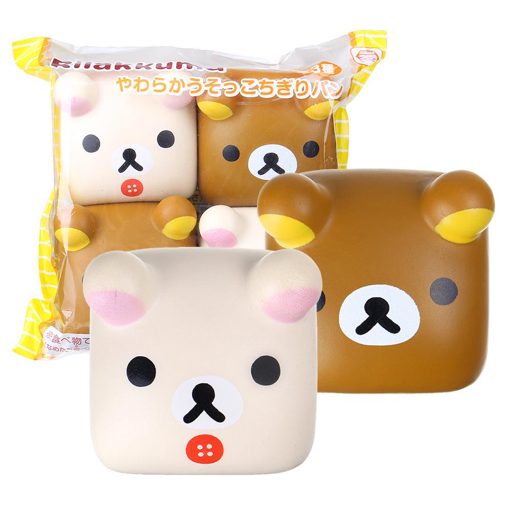Хлеб Squishy 4PCS Bear Тофу Jumbo 6CM Симпатичные Медленно растущий отскок Игрушки Коллекция подарков с упаковкой - фото 1