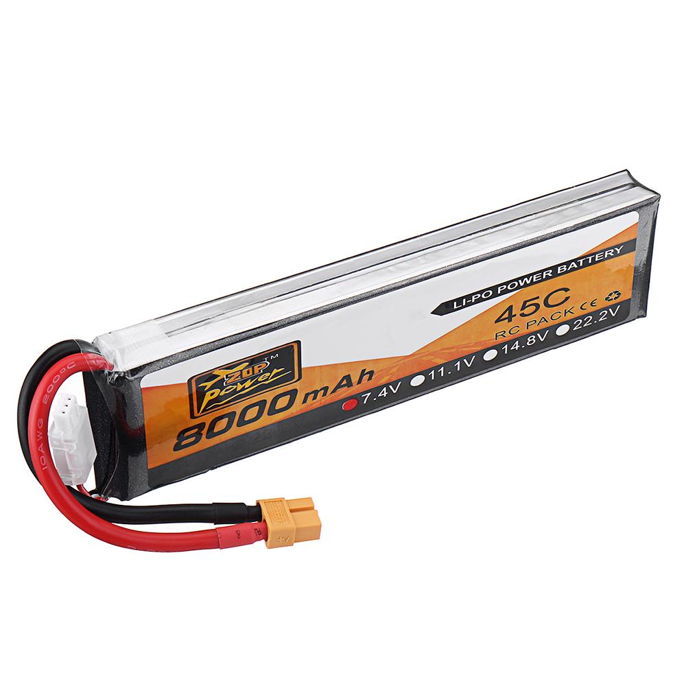 ZOP Power 7.4V 8000mAh 45C 2S Lipo Батарея XT60 Разъем для РУ Квадрокоптер FPV Дрон - фото 6