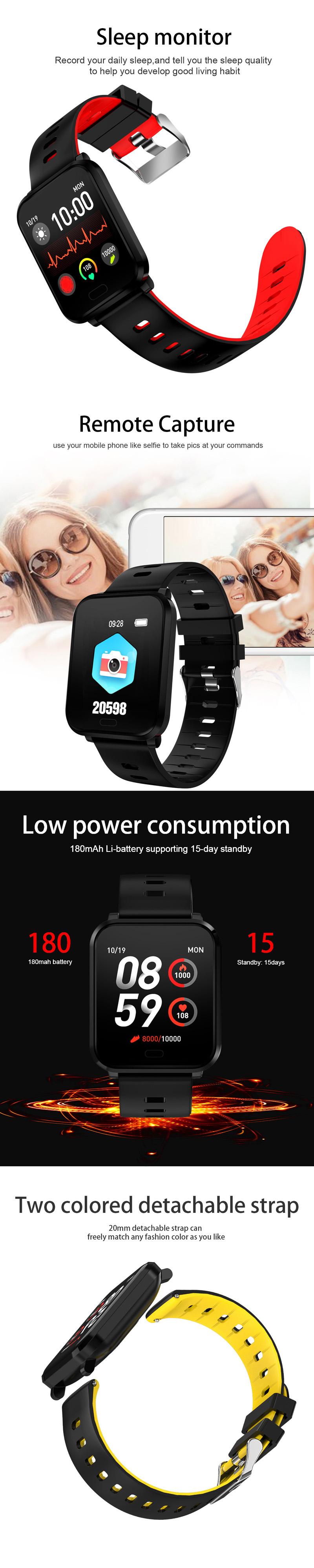 XANESK101,3-дюймовыйцветнойсенсорныйэкран Водонепроницаемы Smart Watch Несколько спортивных браслет Фитнес - фото 4