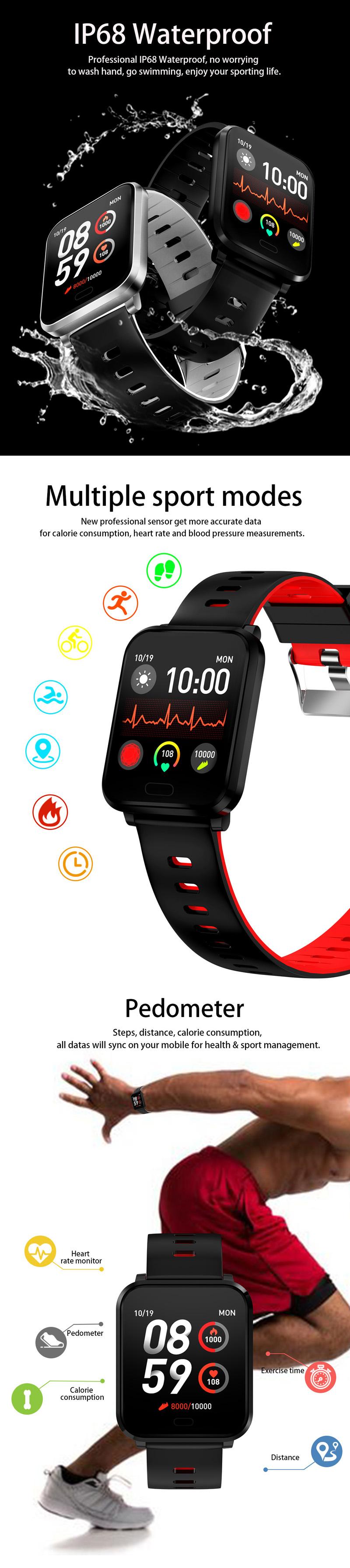 XANESK101,3-дюймовыйцветнойсенсорныйэкран Водонепроницаемы Smart Watch Несколько спортивных браслет Фитнес - фото 3