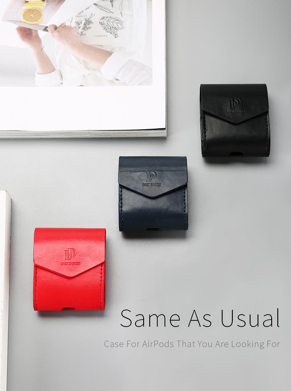 DUX DUCIS Для Apple AirPods Чехол Роскошный кожаный магнитный чехол для Airpods Наушник - фото 1