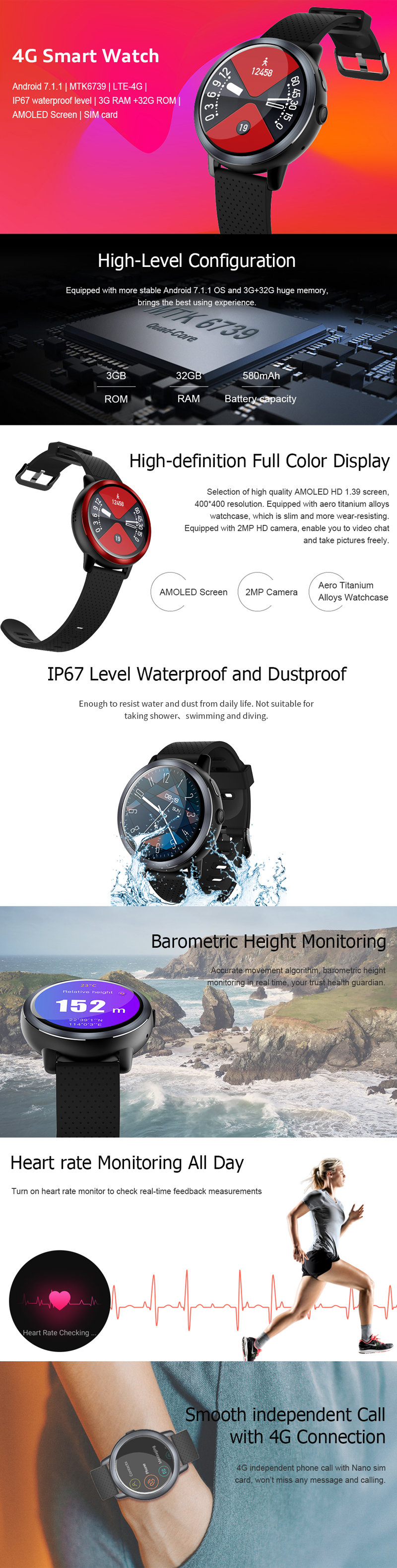 JSBP Z29 4G 3 + 32G GPS WI-FI 2MP HD камера Watch Phone 1.39 '' Full Screen Водонепроницаемы Фитнес Smart Watch - фото 1