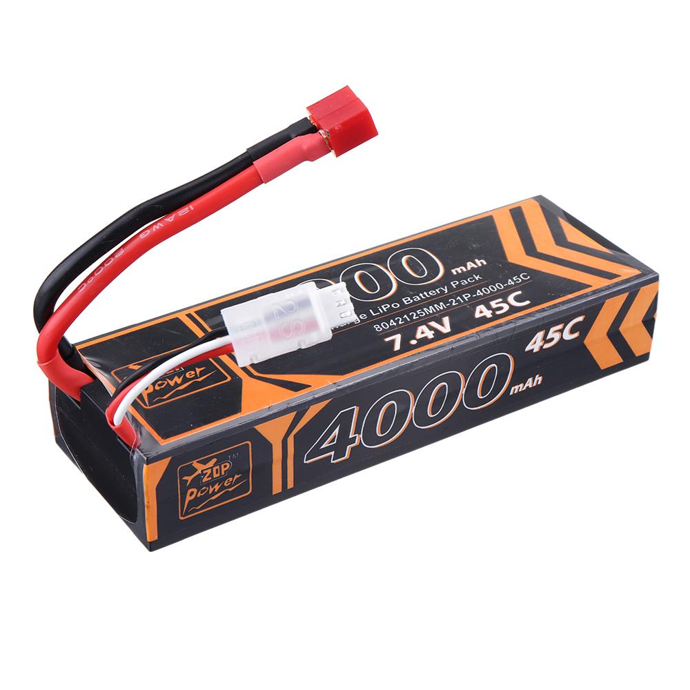 ZOP Power 7.4V 4000mAh 45C 2S Lipo Батарея T Plug для RC Авто - фото 4
