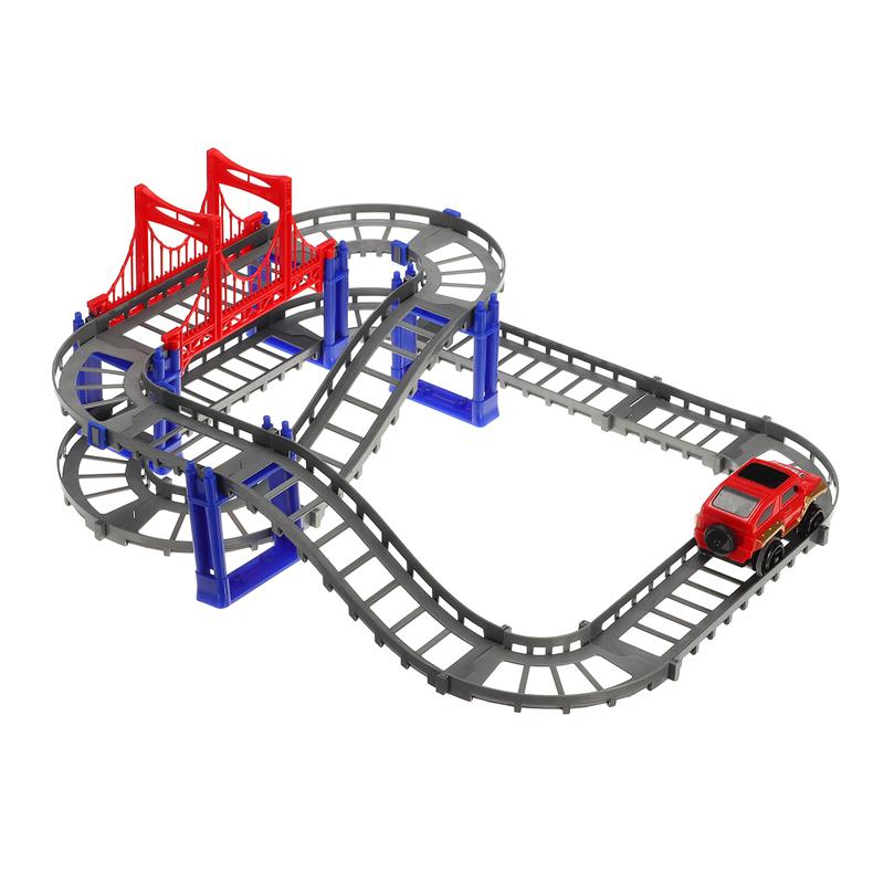 88шт / 90шт DIY трек гонки Авто детские игрушки Набор электрические Авто трек игрушки детские подарки 63,5 * 31,5 * 14,5 - фото 3