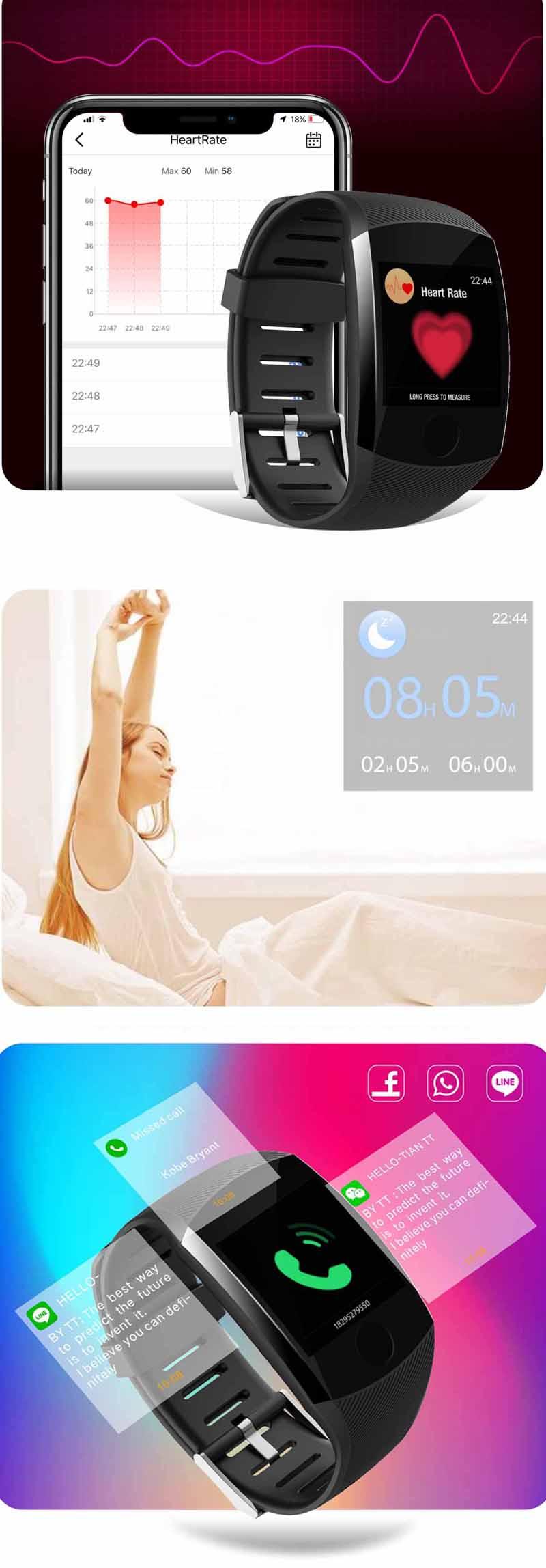 XANESQ111,3-дюймовыйсенсорныйэкранВодонепроницаемы Smart Watch Call Reject Фитнес Спортивный браслет - фото 3
