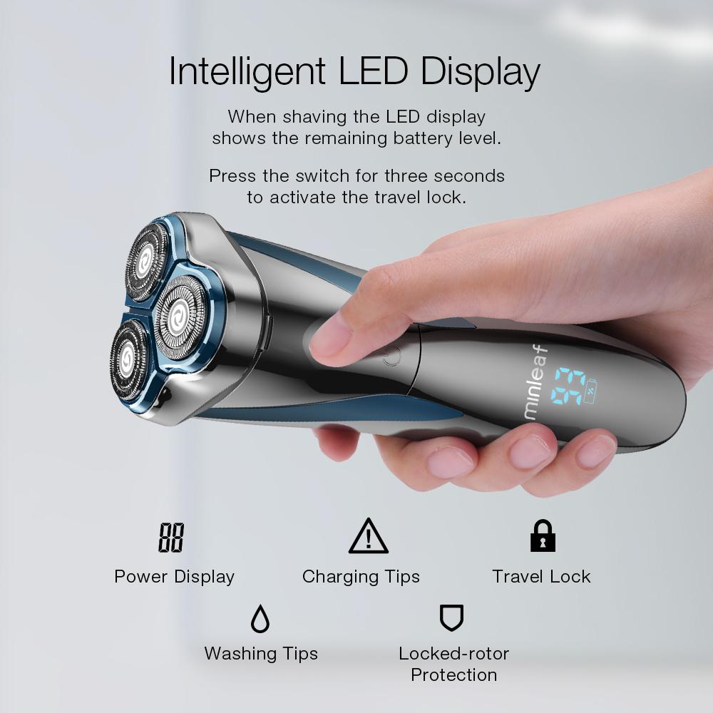 [2019 NEW] Minleaf ML-ES1 LCD Дисплей IPX7 Водонепроницаемы Type-C Аккумуляторная электробритва для сухого влажного брит - фото 2