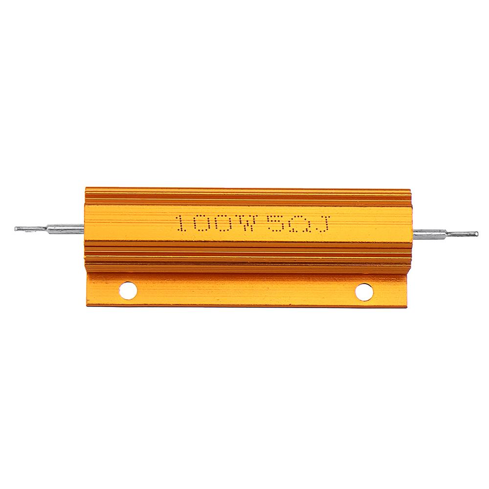 5шт RX24 100 Вт 5R 5RJ Металл Алюминий Чехол Мощный резистор Золотой металлический корпус Чехол Сопротивление радиатора - фото 3