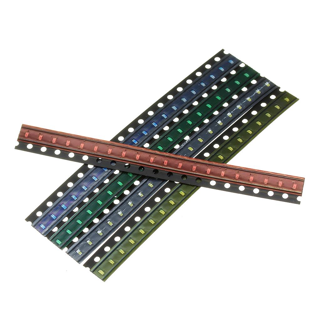 2000шт 5 цветов 400 каждый 0603 LED диодный ассортимент SMD LED диодный Набор зеленый / красный / белый / синий / желтый - фото 5