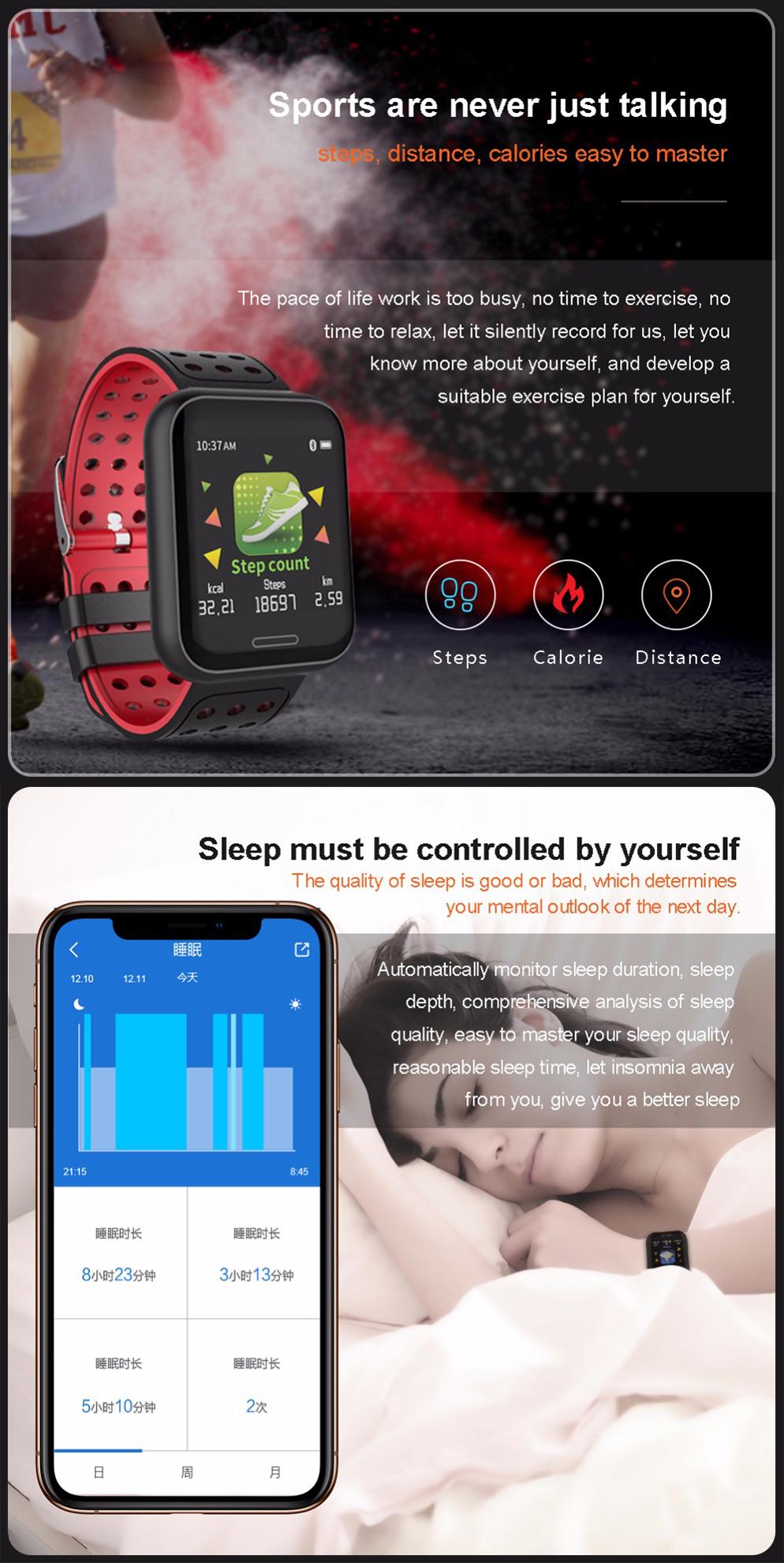 XANES®C681,3-дюймовыйцветнойсенсорныйэкран Водонепроницаемы Smart Watch, несколько спортивных режимов, браслет Фитн - фото 2