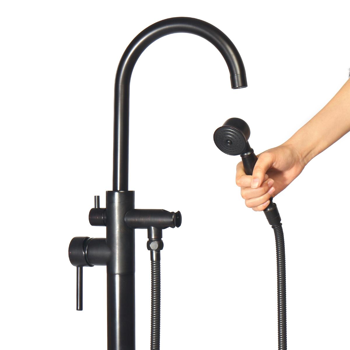 Сплошной черный напольный смеситель для ванны - фото 3