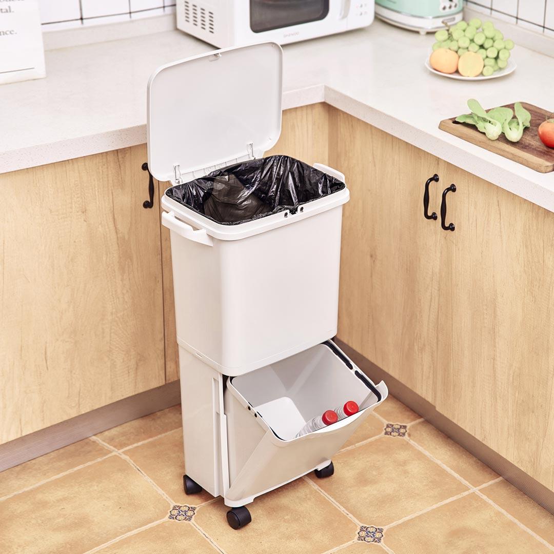 38L Большая емкость для мусора Двухпалубная крышка для мусора Ведро для хранения мусора Сумка от XIAOMI youpin - фото 1