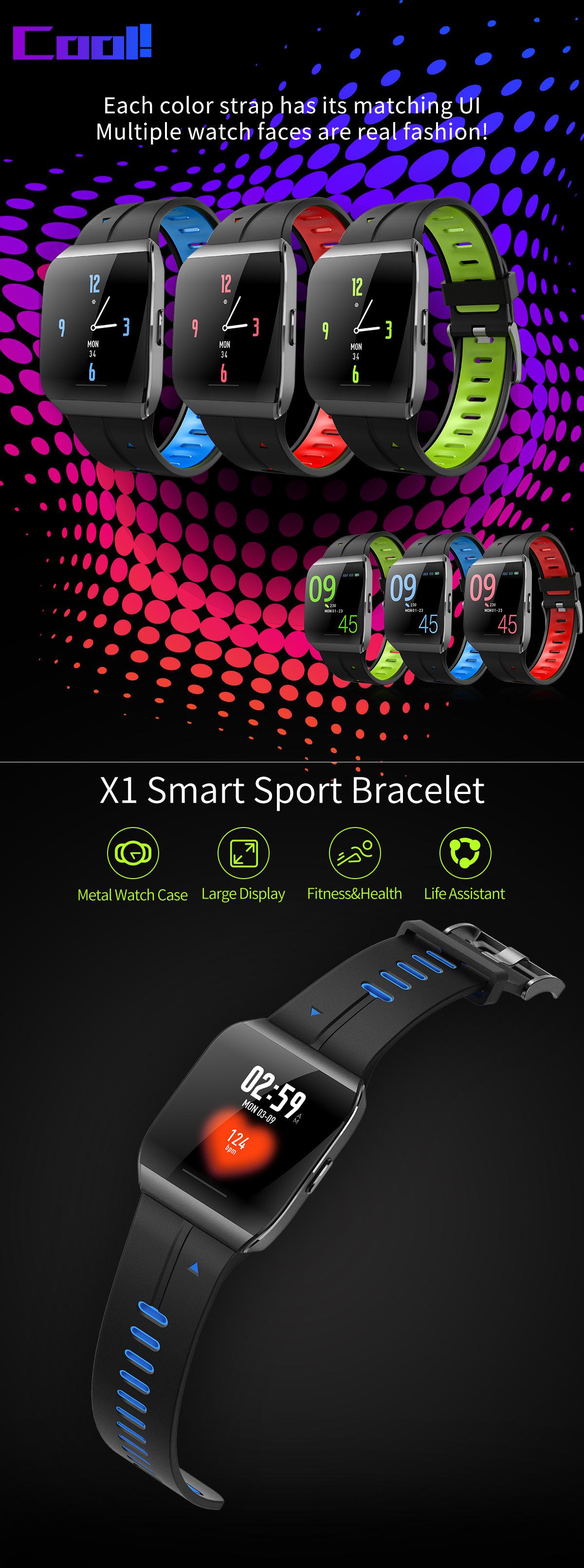 XANES®X11,3-дюймовыйцветнойсенсорныйэкран IP68 Водонепроницаемы Smart Watch Секундомер Фитнес Спортивный браслет - фото 2