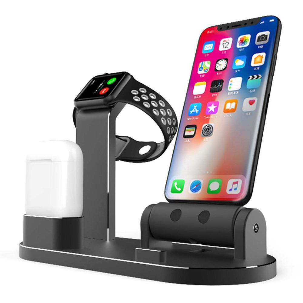 3 в 1 держатель телефона док-станции для зарядки из алюминиевого сплава для iPhone Apple AirPods серии Apple Watch - фото 1