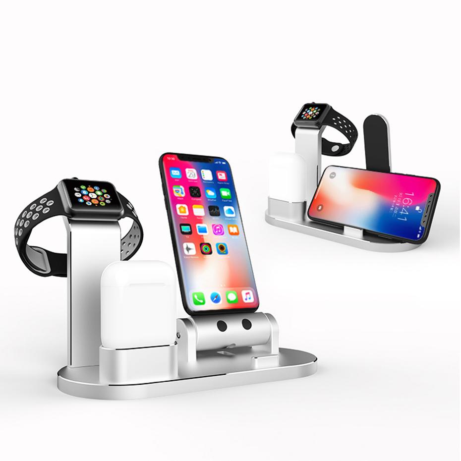 3 в 1 держатель телефона док-станции для зарядки из алюминиевого сплава для iPhone Apple AirPods серии Apple Watch - фото 2